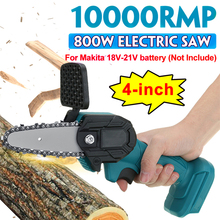 4 Inch 800W Electric Chain Saw Handheld Chainsaw Rechargeable Logging Saw Pure Copper