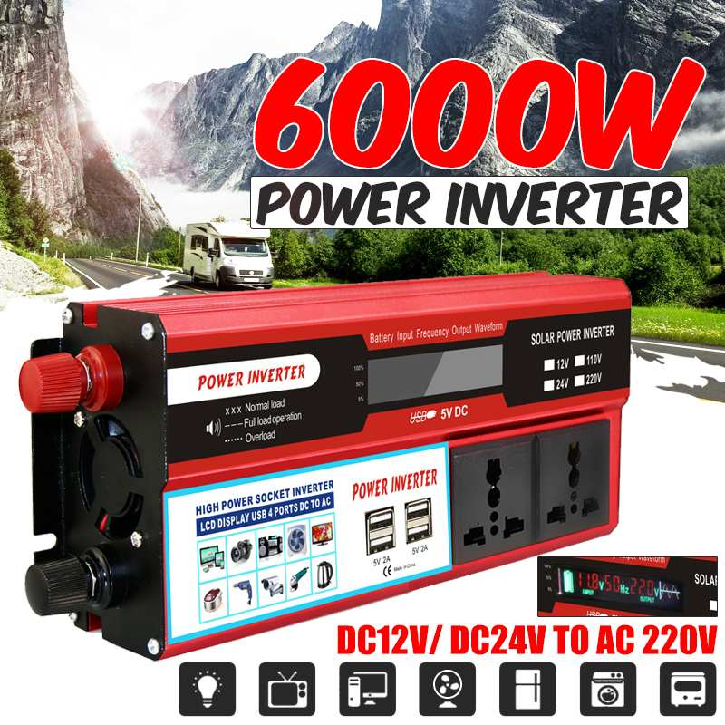 6000 Вт пикс автомобильный инвертор 12 В 24 В 220 В USB светодиодный Авто модифицированный синусоидальный трансформатор напряжения солнечный сило...