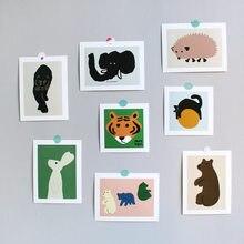 Tarjeta de animales pequeños de arte abstracto, pegatina decorativa de pared, accesorios para fotos, tarjetas a prueba de agua, decoración de carteles