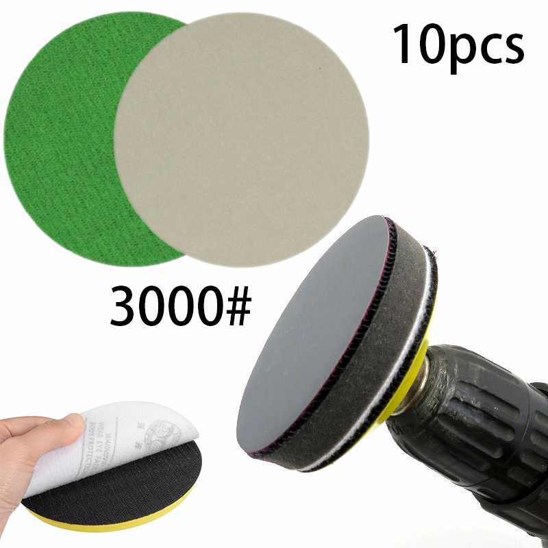 10Pcs 75mm 3000 Grit Wet And Dry Sanding Discs 3 Inch Hook & Loop Sandpaper