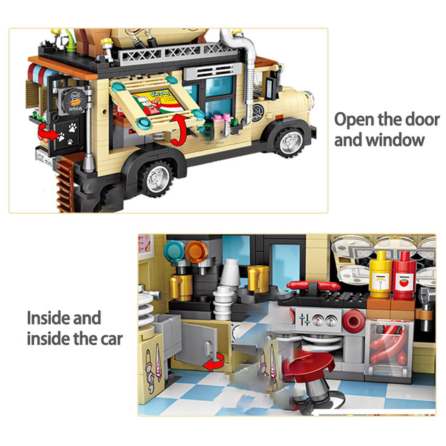 1317pcs City Hot Dog Cart Car Bricks Figurine Model Building Blocks Vehicle Education Mini Bricks Toys for Children Gifts
