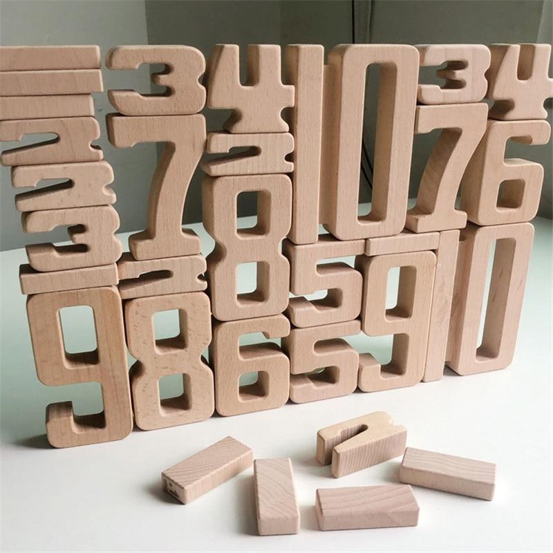 Anzahl Bausteine Holz Mathematik Digitale Spielzeug Baby Balance Block Jenga Spielzeug Montessori Pädagogisches Natürliche Holz Spielzeug für Kinder