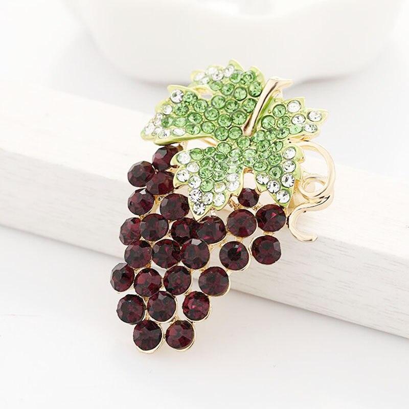 Женская Брошь в виде винограда Wuli & baby, фиолетовые стразы, вечерние броши для офиса