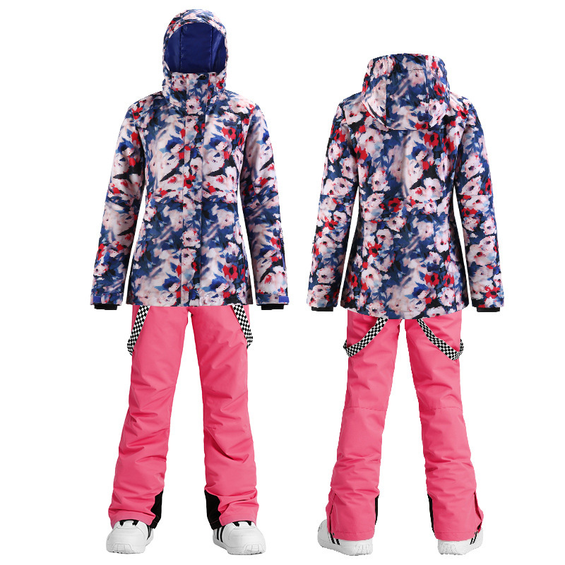 SMN Flowers Women's Suit Snowboard Clothing Waterproof Windproof Costumes Winter Outdoor Snow Jacket + Ski pants Female and Girl