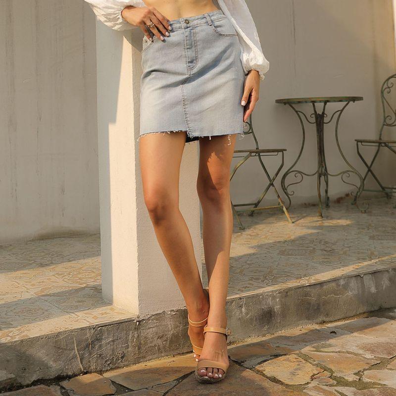 Womens Denim Skirt Womens High Waist A-Line Mini Skirts Denim Blue Above Knee Skirts Summer Sexy Irregular Short Skirt