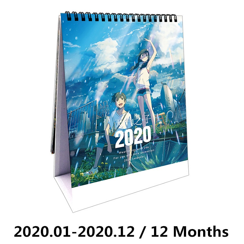 2020 Japanese Anime Weathering With You Desktop Calendar DIY Amano Hina Characters Calendars Fans Gift