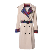 2020 women's new Long Sleeve Plaid panel casual fit style trench coat