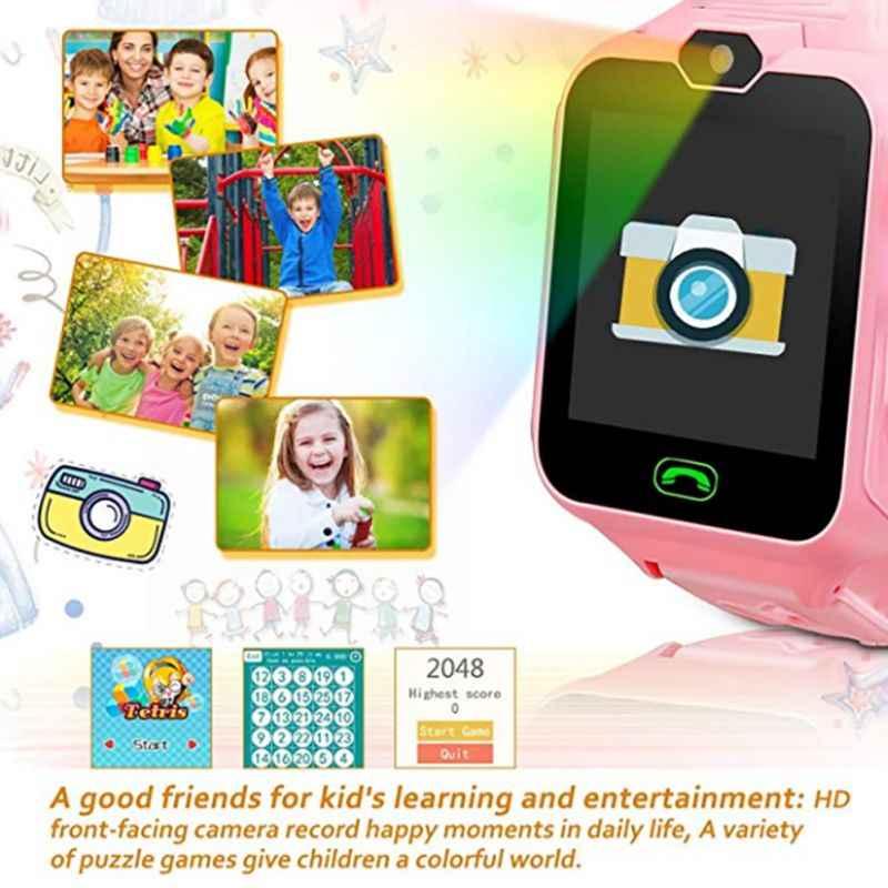 الأطفال ساعة ذكية الدعوة الموسيقى ساعة اليد مقاوم للماء العملي HD شاشة ملونة Smartwatch دعم نظام تحديد المواقع و SOS