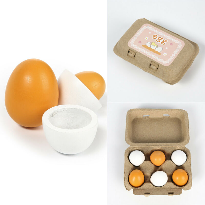 Easter Baby Kid Wooden Eggs Yolk Pretend Play Preschool Kitchen Food Cooking Toy