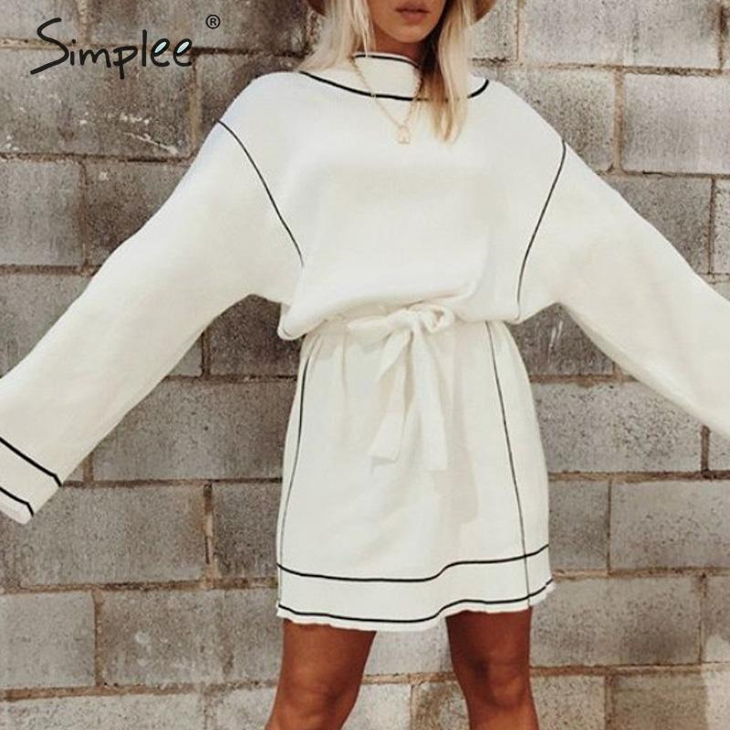 Simplee White Sweater Dress Streetwear Turtleneck Loose Long Sleeve Knitted Dress Casual Women Belt Elastic Short Autumn Dress