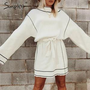 Image 1 - Simplee suéter blanco vestido Streetwear cuello alto suelto manga larga tejido vestido Casual mujer cinturón elástico corto vestido de otoño