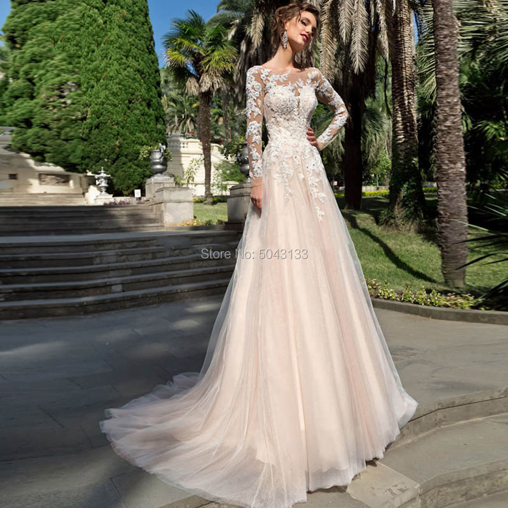 Romantic Lace Appliques A Line Champagne Wedding Dresses With Beads 2020 Sexy Sheer Scoop Long Sleeves Corset Back Bridal Gowns
