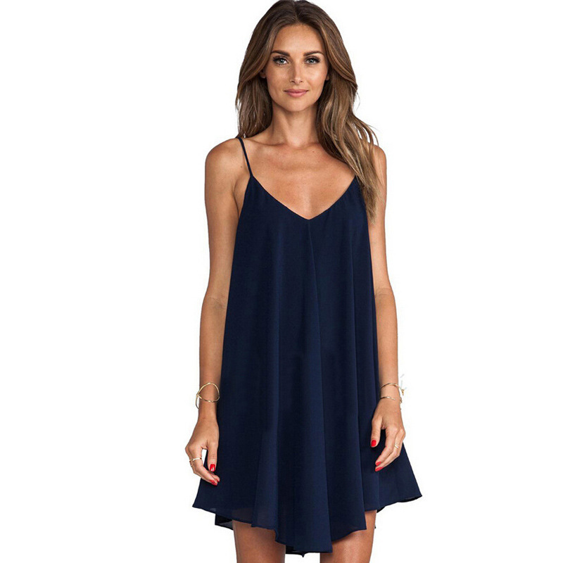2020 Summer Large Chiffon <font><b>Dress</b></font> for Women <font><b>6xl</b></font> <font><b>Sexy</b></font> Loose Plus Size Solid V-Neck Spaghetti Backless Strap Above Knee Mini <font><b>Dress</b></font> image