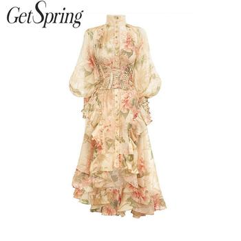 GetSpring Women Dress Long Flower Printed Party Dresses Puff Sleeve Ruffle Vintage Dress Bandage High Waist Cocktail Prom Dress