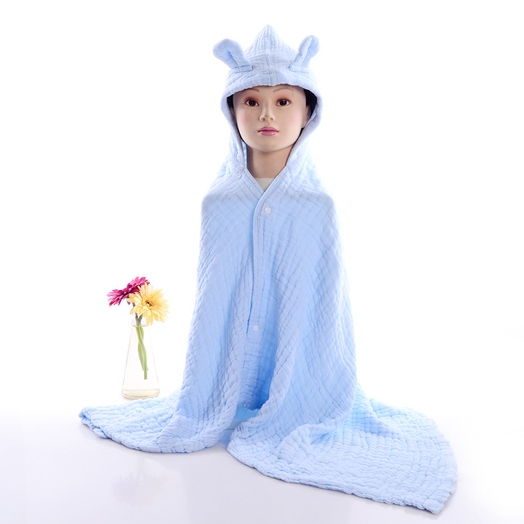 Plain Color Pure Cotton Gauze Baby Swimming Bath Hooded Bath Towel Bathrobe Cotton Seersucker CHILDREN'S Cloak Customizable