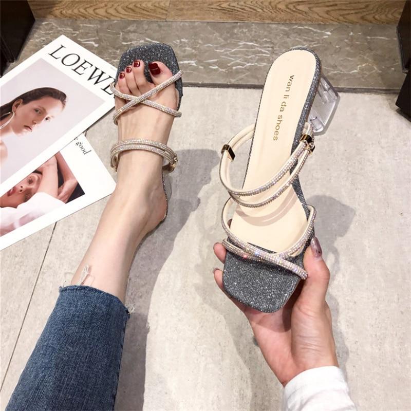 Platform Sandals High Quality New Women Sandals PVC Crystal Heel Transparent Women Sexy Clear High Heels Summer Sandals Pumps