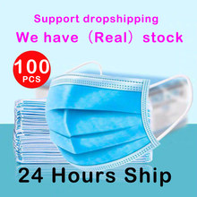 100pcs Disposable Earloop Face Mouth Masks 3 ชั้น Anti-DUST หน้ากากใบหน้าป้องกัน Breathable แบคทีเรียหน้ากาก Fast การจัดส่ง(China)
