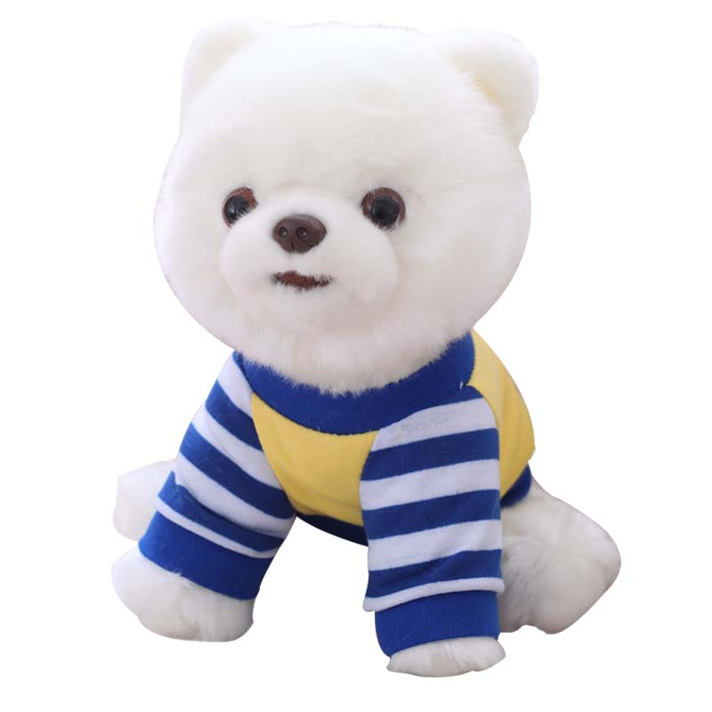 25cm Cute Pomeranian Simulation Plush Stuffed Toys White Blue Stripe T-shirt Pomeranian Dressing Dolls, Children Christmas Gifts