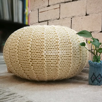 Nordic Full Cotton Hand Woven Round Low Stool For Shoes Change Sitting living Room Home Decoration Creative Soft Leisure Stool