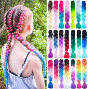 Mtmei Hair Ombre Braiding Hair Extensions For Cosplay Party Daily Grey Purple Pink Jumbo Box Braids Crochet Hair 24