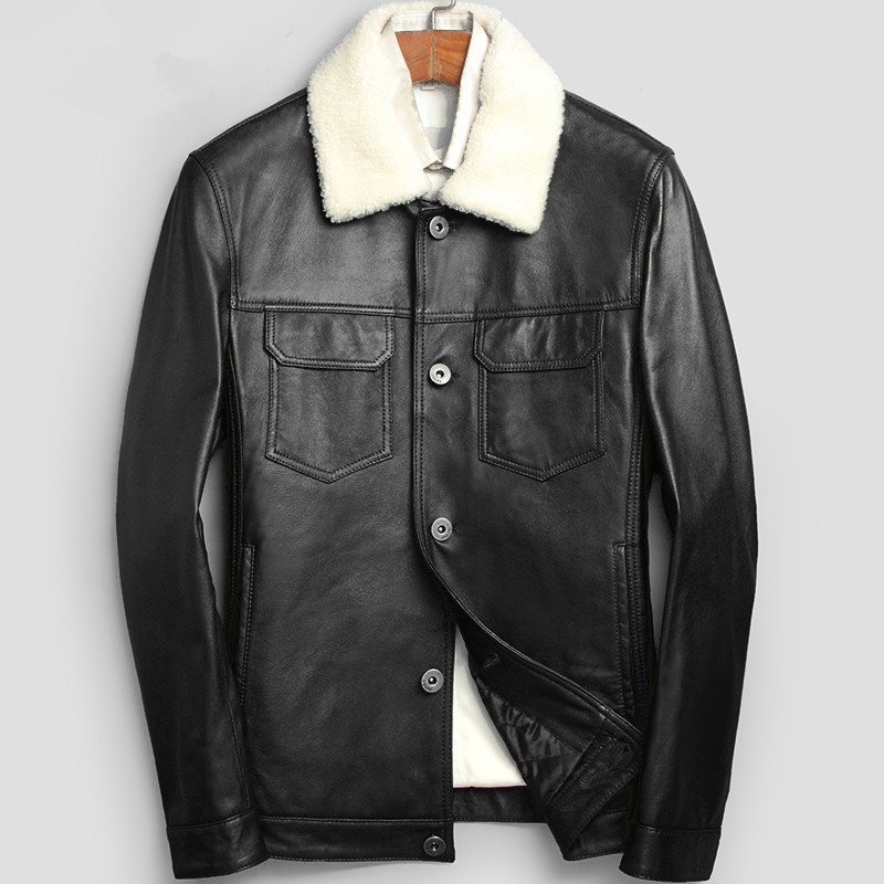Leather Jacket Autumn Winter Jacket Men Lamb Fur Collar Coat Genuine Sheepskin Jacket Chaqueta Hombre LSY080126 MY1360