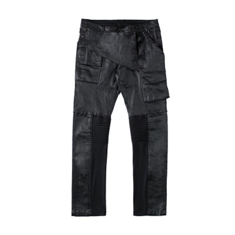 2019 Winter Men Jeans Owen Gothic RO Casual Patchwork Moto Wax Fashion Casual Summer Spring Denim Work Pants High Street