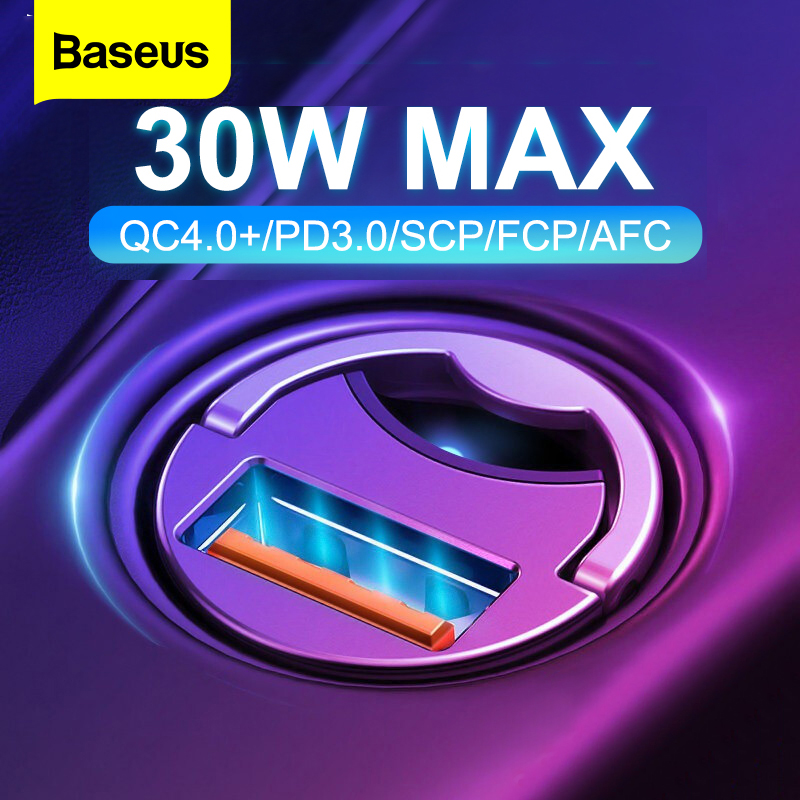 Baseus Quick Charge 4.0 3.0 USB C Car Charger For Xiaomi mi9 Huawei P30 Pro QC4.0 QC3.0 QC 5A Fast PD Car Charging Phone Charger Car Chargers     - title=