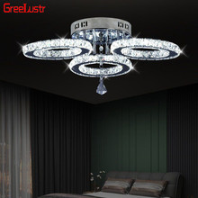 Modern K9 Crystal LED Ceiling Lights Stainless Steel 3 Rings Lusters Plafond For Kitchen Dinning Room Luminaire Light Fixtures