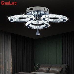 Image 1 - Moderne K9 Kristall LED Decke Lichter Edelstahl 3 Ringe Kronleuchter Plafond Für Küche Esszimmer Leuchte Leuchten