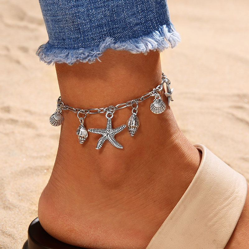 Classic Summer Beach Anklet Vintage Starfish Sea Turtle Wave Conch Shell Anklets Alloy Ankle Bracelet Women Foot Jewelry