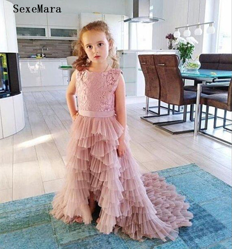 Pink   Flower     Girl     Dress   for Wedding Tiered Puffy Tulle with Bow Kids Clothes Little   Girls   Birthday Party Gown Any Size