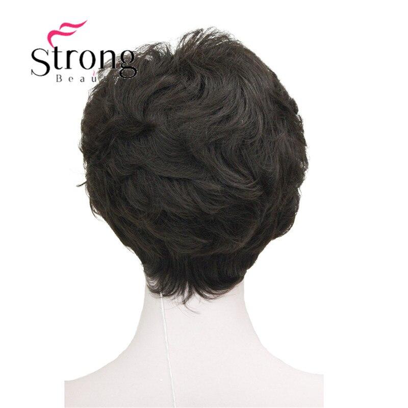 StrongBeauty Shag стиль синтетические парики короткие волнистые слоистые темно-Обурн пользовательские парики для афро-американских