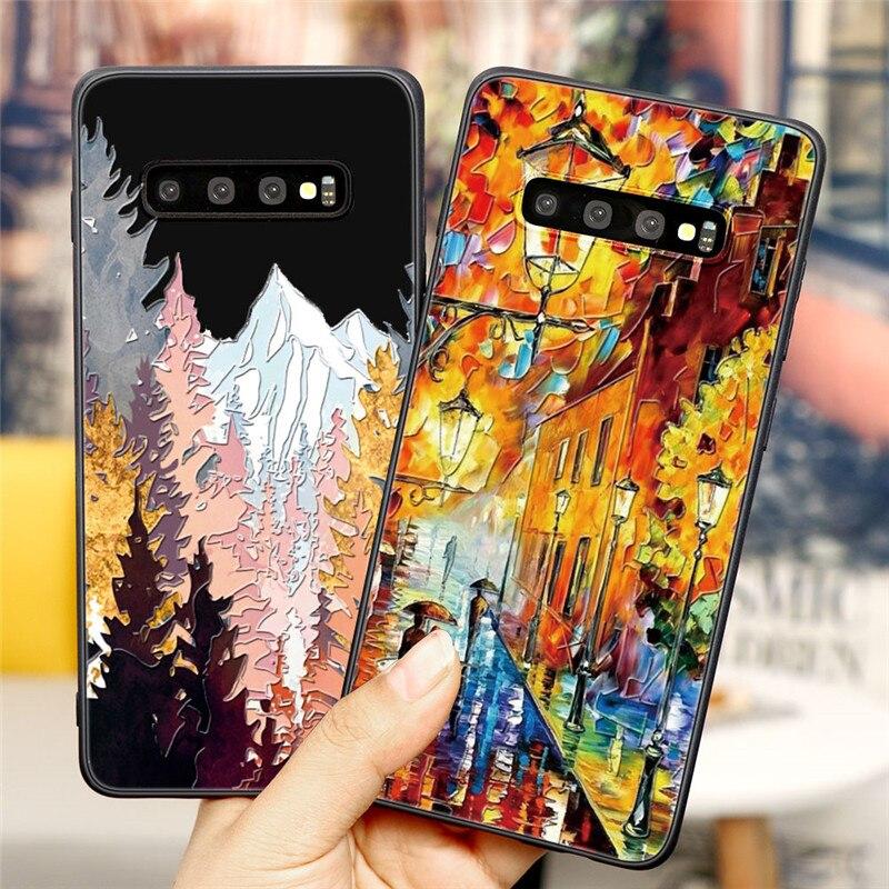 3D Emboss Mountain Case For Samsung Galaxy A51 A01 A10 A30 A40 A50 A60 A70 A71 A81 A21 A9 A7 S20 Ultra S10 S9 S8 Plus Covers TPU