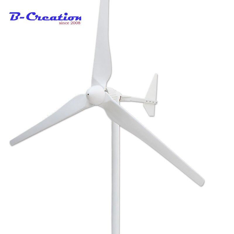 Tres fases de salida de CA 2KW 2000W 24v 48v 96v 110v 220V 380v generador de viento/turbina de viento 3 m/s baja velocidad del viento arranque 3 hojas