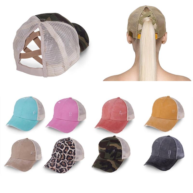 Ponytail Baseball Cap Messy Bun Hats For Women Washed Cotton Snapback Caps Casual Summer Sun Visor Outdoor Hat