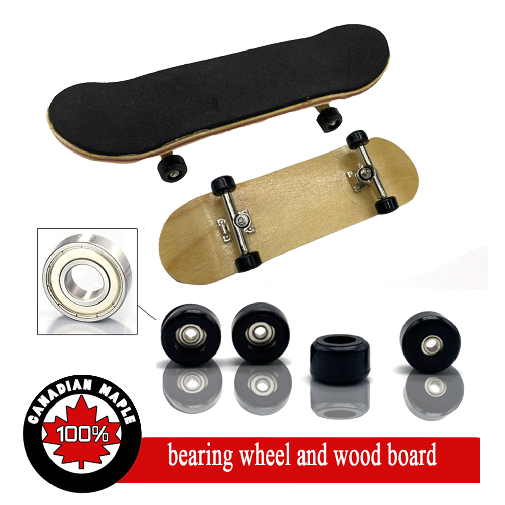 5 Different Color Professional Fingerboard, Wooden Fingerboards Finger Skateboard Alloy Stent Bearing Wheel Novelty Fingerboard