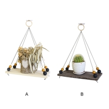 Домашние деревянные подвесные стеллажи в стиле ретро квадратная полка для украшения растений может быть подвешена настенная полка для дома zh