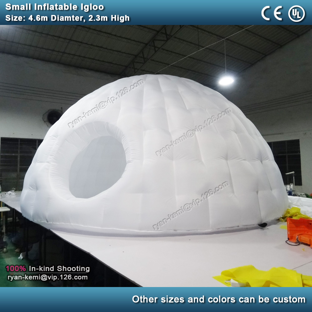 4.6m diamètre petite tente igloo gonflable pour des événements de partie ronde extérieure camping tente pour enfants avec porte gonflable blanche de dôme de toit