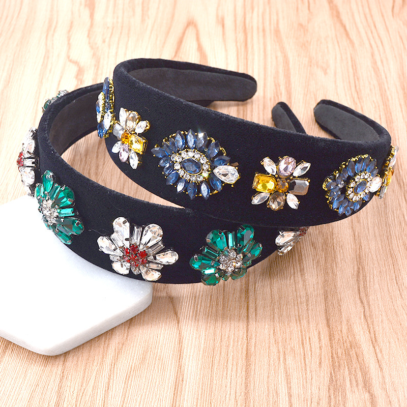 Fashion personality Baroque rhinestone headband for women Flower Crown Wide Hairband Wedding Hair Accessories Jewelry Gift in Hair Jewelry from Jewelry Accessories