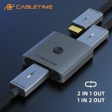 CABLETIME rozdzielacz HDMI 4K 60Hz 1x Adapter 2/2x1 przełącznik HDMI konwerter 2 w 1 dla latop Macbook Air HDTV PS4 przełącznik HDMI C355