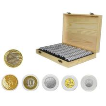 все цены на 100 Commemorative Coin Protection Container Coins Collection Home Wooden Storage Box Coin Display Case For 18/21/25/27/30mm онлайн