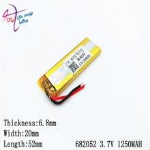 3.7V 1250mAH 682052 702050, polimerowa bateria litowo-jonowa/akumulator litowo-jonowy do GPS, mp3, mp4, mp5, dvd, bluetooth, modelu zabawki telefonu komórkowego