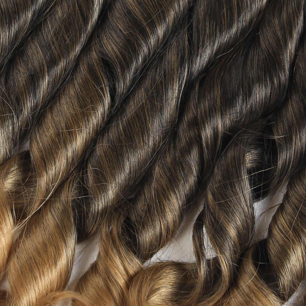 Soku Funmi Keriting Sintetis Menenun Rambut Ombre Hitam Coklat Berwarna 16 18 Inch Tenun Ekstensi Rambut Bundel Tahan Panas Serat