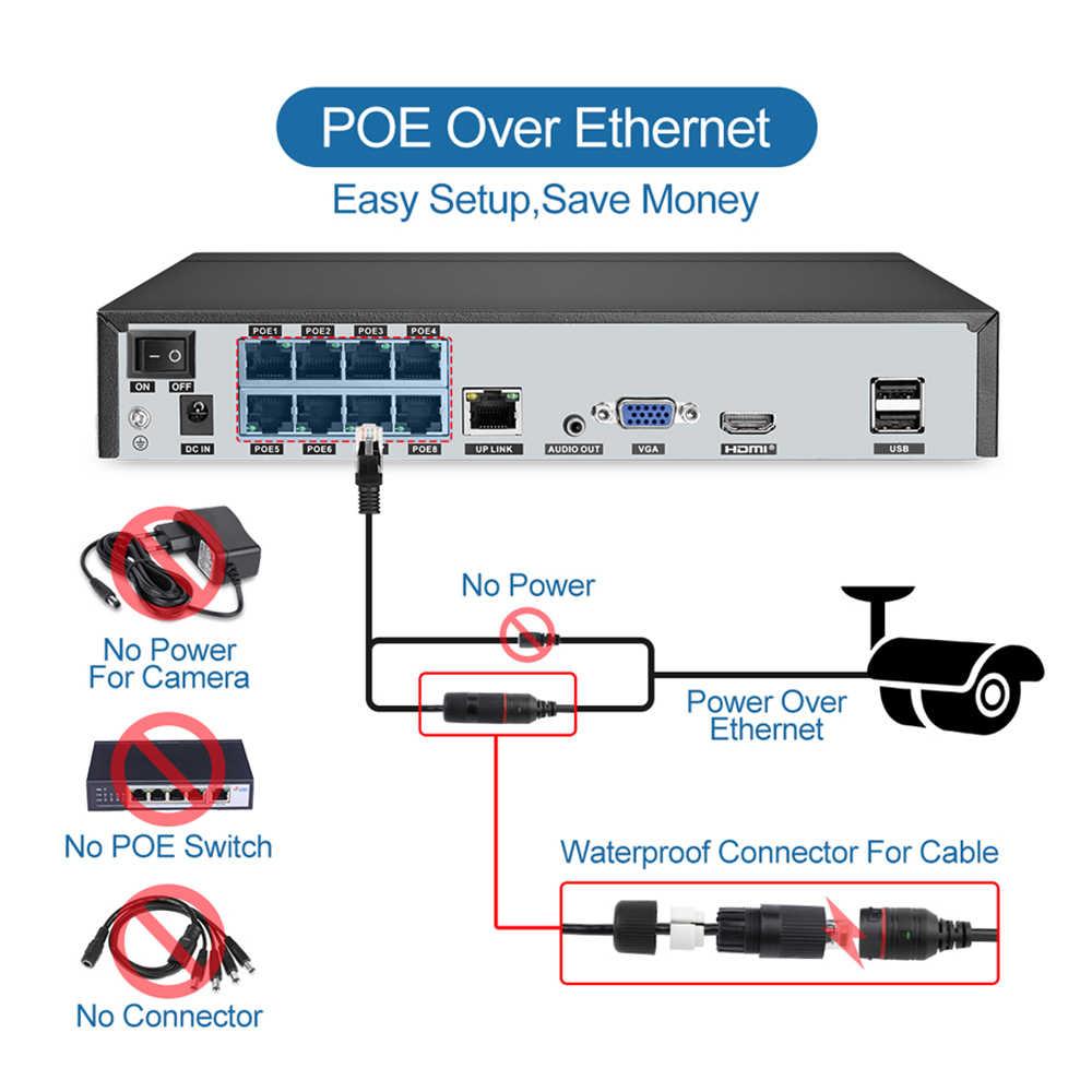 Techage 8CH 5MP HD POE طقم NVR نظام الدائرة التلفزيونية المغلقة اتجاهين الصوت AI IP كاميرا الأشعة تحت الحمراء قطع في الهواء الطلق P2P مجموعة مراقبة الأمن الفيديو 2 تيرا بايت HDD