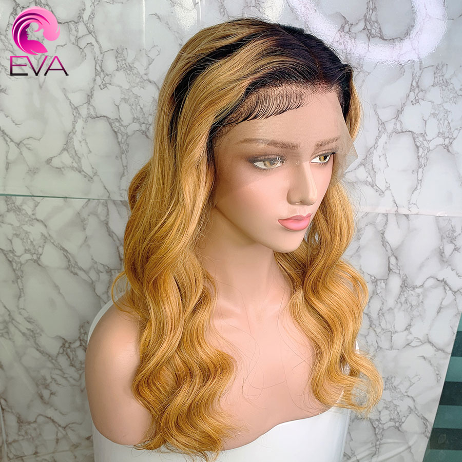 Eva Body Wave Ombre T1b/27 13x6 Lace Front Human Hair Wigs Pre Plucked With Baby Hair Brazilian Remy Hair Wigs For Black Women