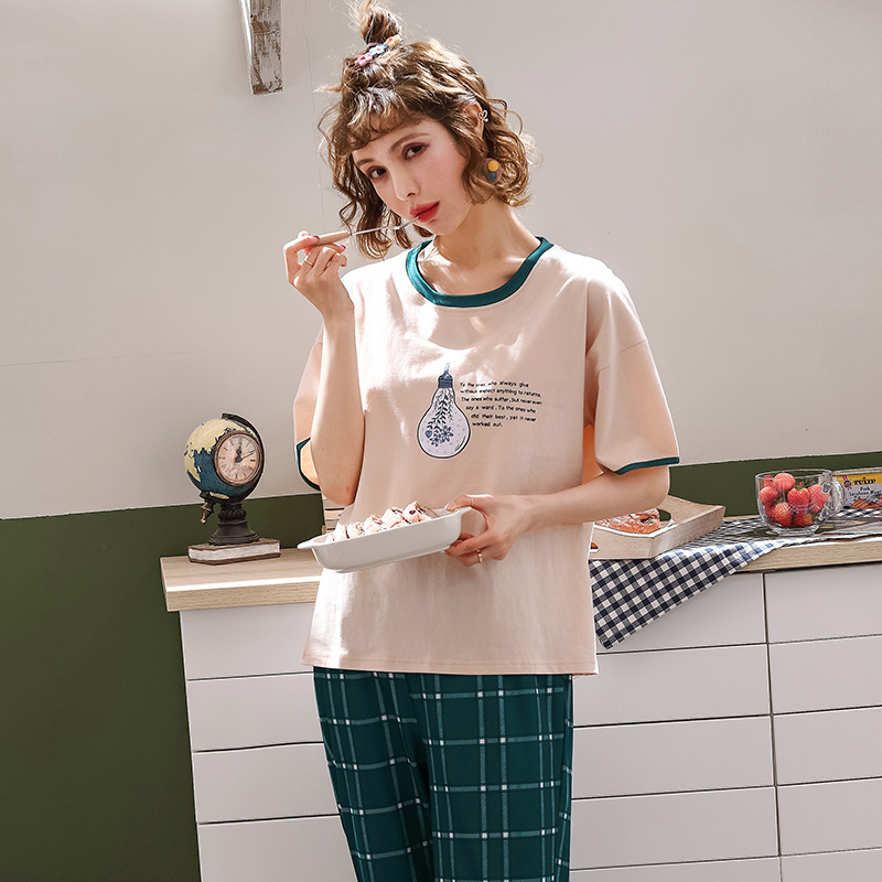 Peach Scent Knitted Cotton Spring Summer Cartoon WOMEN'S Short-sleeved Clothes Casual Capri Pants Two-Piece Set Pajamas Suit Tra