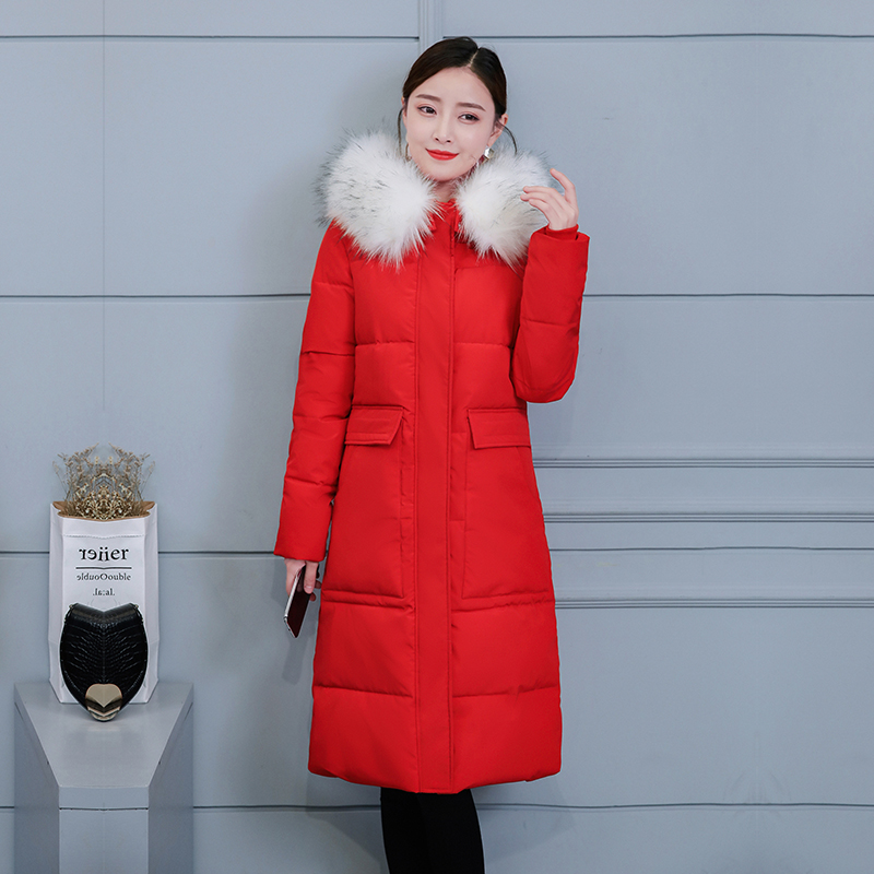 Big Fur Collar Hooded Winter Down Jacket Warm Long   Parkas   Female Plus size Solid Thick Warm Coat Women Cotton Padded Jacket 3XL