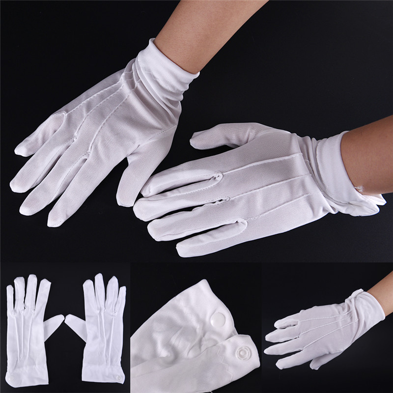 1Pair White Cotton Gloves Work Uniform Catering Uniforms Magician Parades Inspection Five-fingers Women Men's Work Gloves