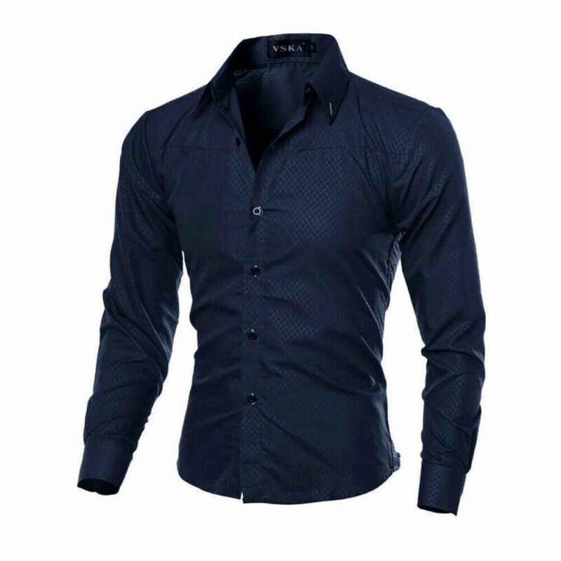 Camisa Formal informal de lujo de moda 2020 para hombres, camisas de prendas de vestir de oficina para fiestas de boda, de manga larga y decentes