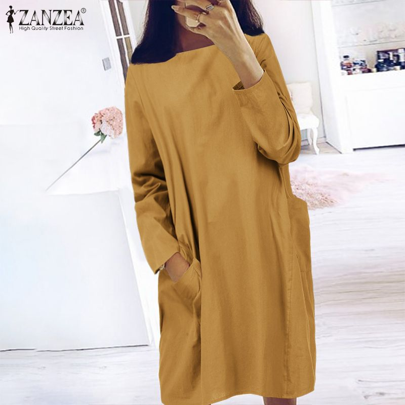 Women Long Shirt Dress ZANZEA 2020 Fashion Ladies Casual Solid Vestidos Cotton Sundress Summer Robe Pockets Dresses